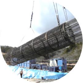 鉄筋篭の建込み